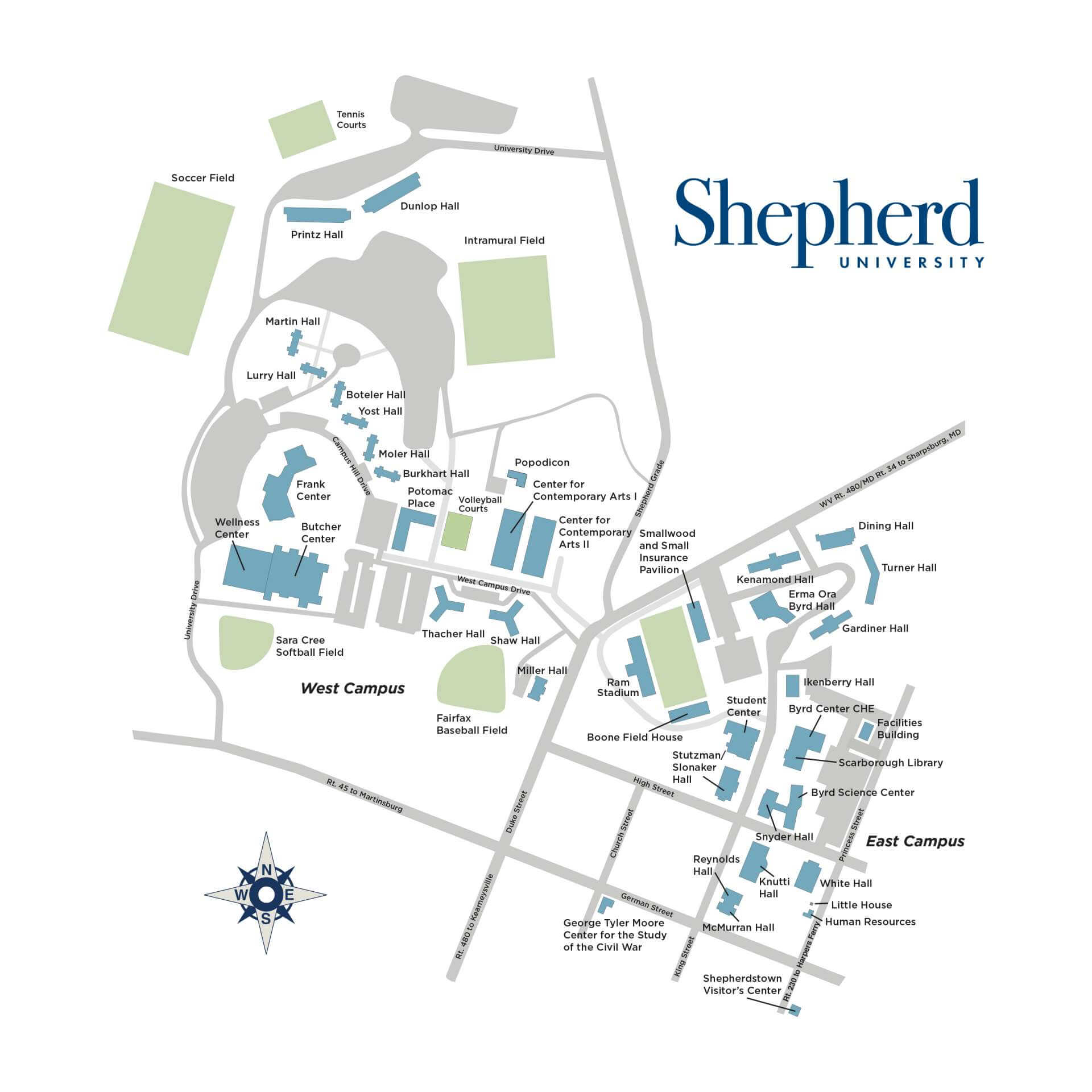 Downtown Campus Map Wvu.Shepherd University